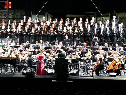 onstage with Choeur Symphonique and Ennio Morricone